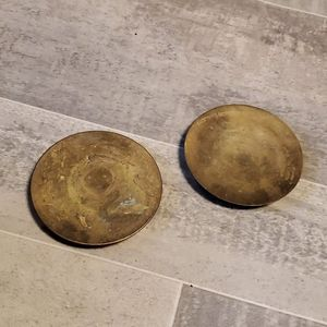 Set of 2 Round Brass Candle Holders